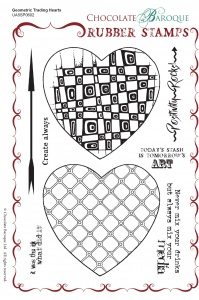 Geometric Trading Hearts Rubber Stamp sheet - A5