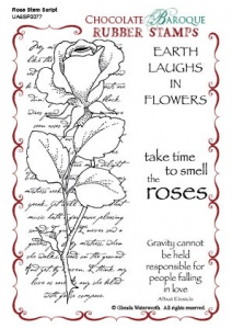 Rose Stem Script Rubber stamp sheet - A6