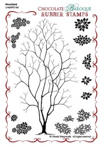 Woodland Design a Tree Rubber stamp sheet - A6