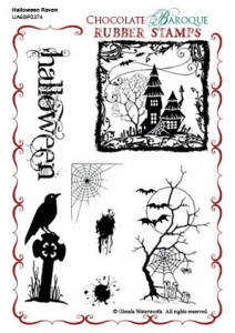 Halloween Raven Rubber stamp sheet - A6