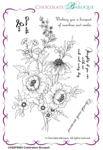 Celebration Bouquet unmounted rubber stamp set - A6
