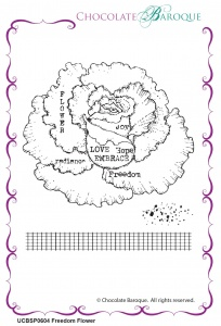 Freedom Flower Rubber Stamp sheet - Chocolate Block