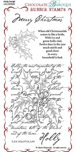 Holly Script Rubber Stamp Sheet - DL