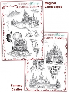 Magical Landscapes/Fantasy Castles Rubber stamps Multi-buy - A5