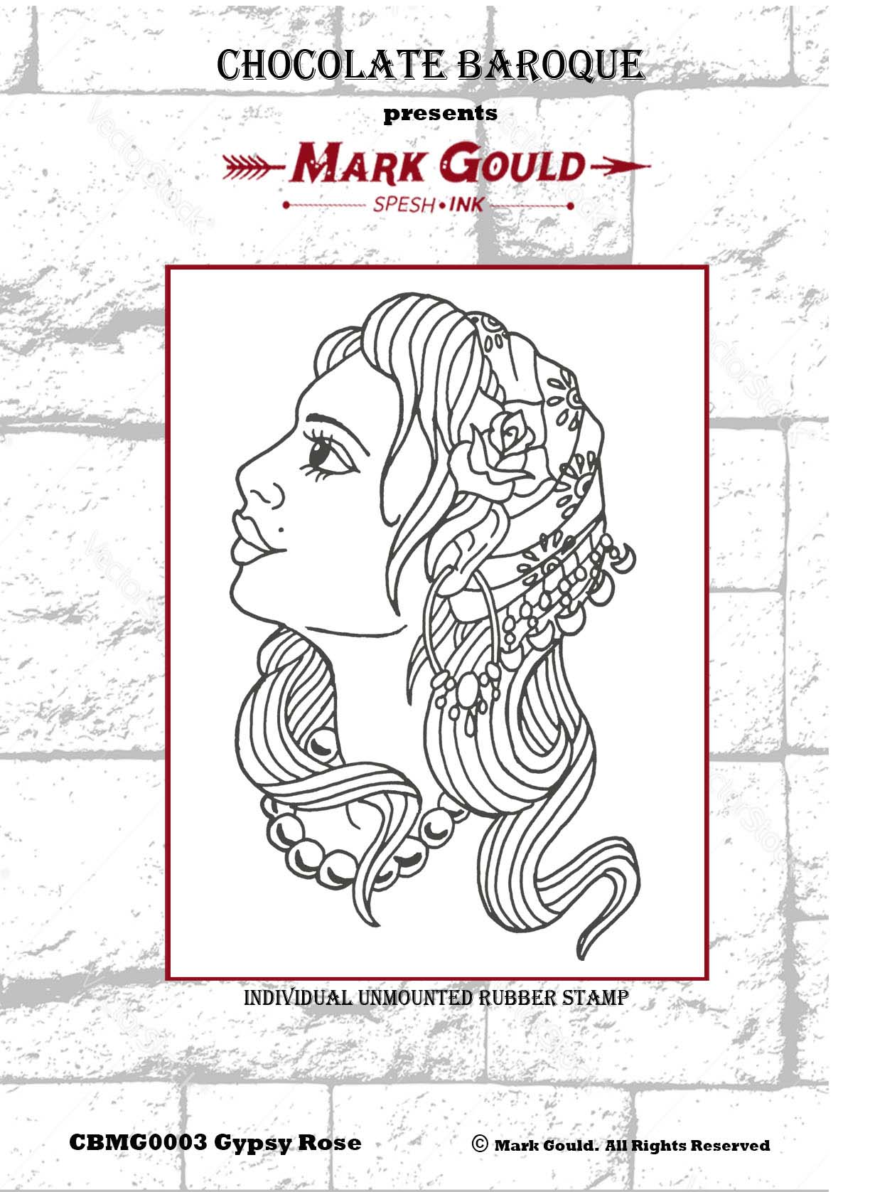 Mark Gould - Gypsy Rose individual unmounted rubber stamp - A6 ...