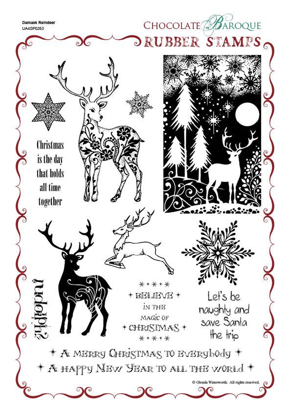 Damask Reindeer Rubber Stamp Sheet