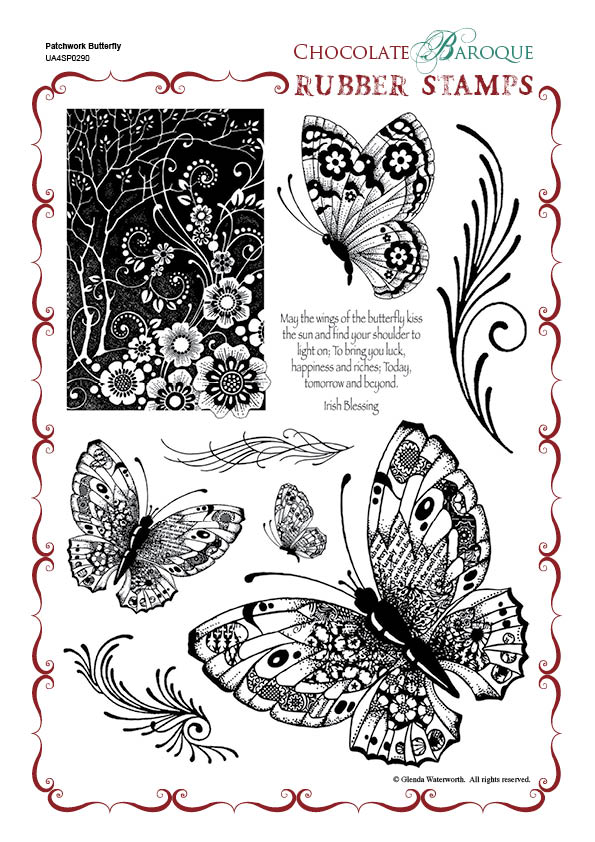 Patchwork Butterfly Rubber Stamp Sheet