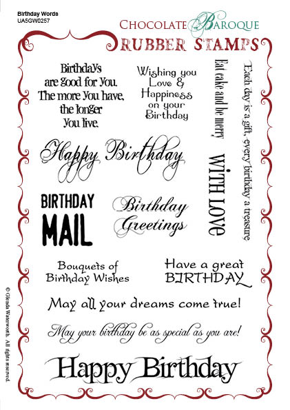 birthday words rubber stamp sheet a5 chocolate baroque