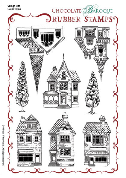 Village Life Rubber stamp sheet - A5 - Chocolate Baroque