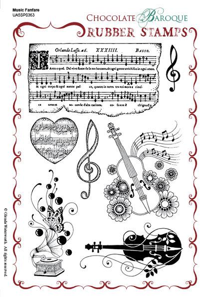 Music Fanfare Rubber Stamp Sheet