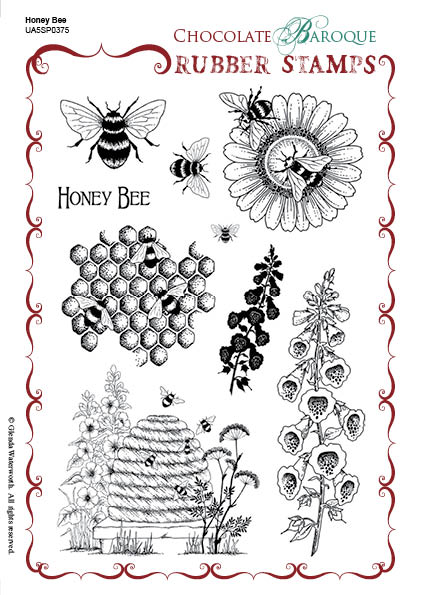 Honey Bee Unmmounted Stamp Sheet A5 Chocolate Baroque