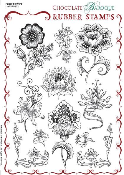 Fancy Flowers Rubber stamp sheet - A5