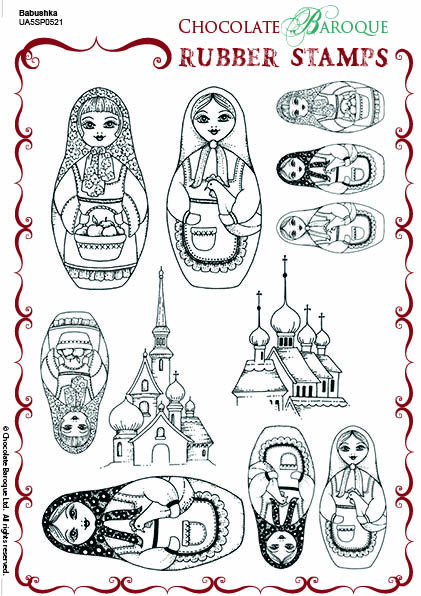 Babushka Rubber Stamp sheet - A5