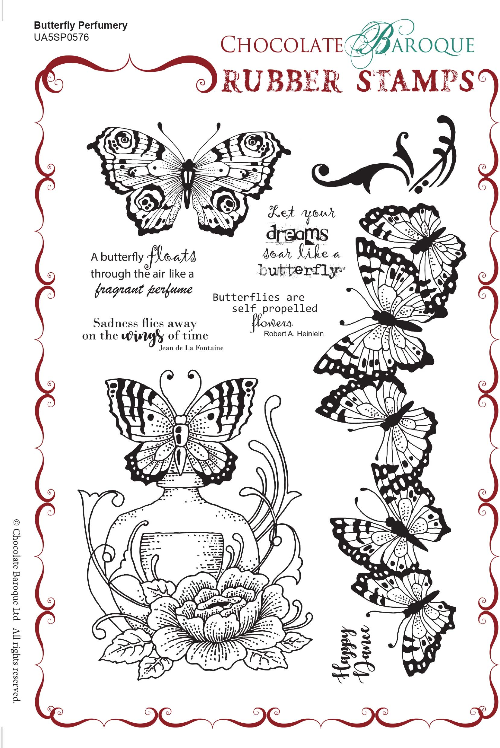 Butterfly Perfumery Rubber Stamp Sheet