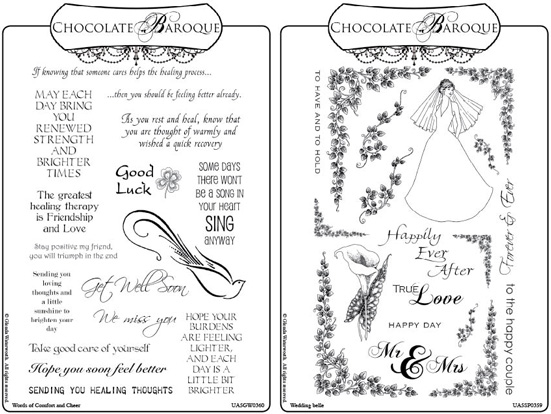 Wedding Belle Words Of Comfort Cheer Rubber Stamp Multi A5