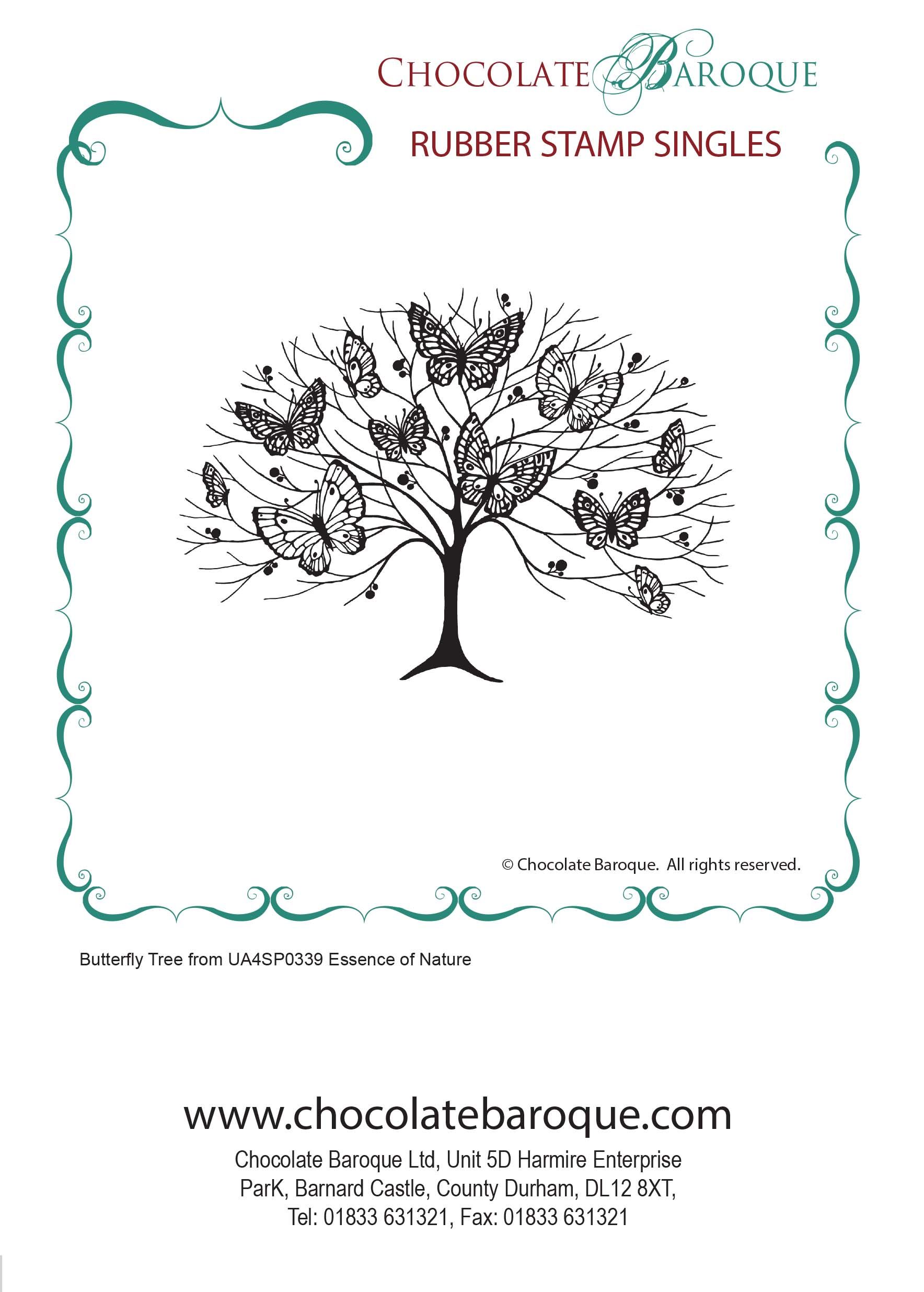 Butterfly Tree single unmounted rubber stamp - Chocolate Baroque