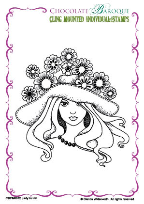 Lady in Hat cling mounted rubber stamp - Chocolate Baroque