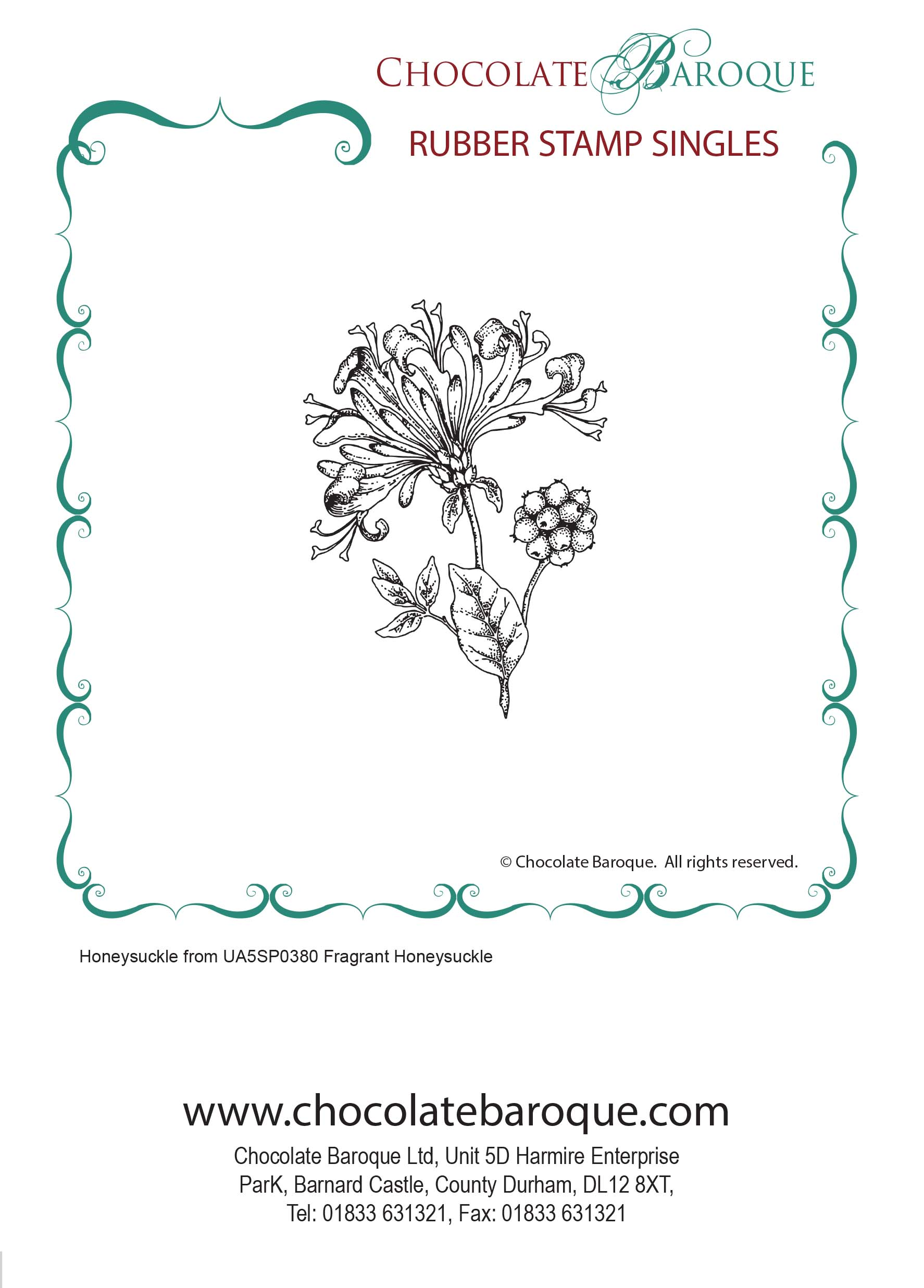 Honeysuckle single unmounted rubber stamp - Chocolate Baroque