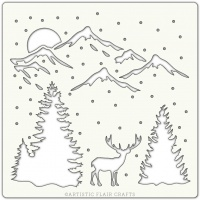 Artistic Flair 152 Range (6''x6'')  - Winter Valley stencil template