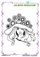 Lady in Hat cling mounted rubber stamp