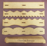 Chocolate Baroque Draw and Tear Rulers Set 1 - Pack of 4 with handles