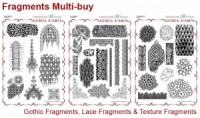Gothic, Lace and Texture Fragments Rubber stamps Multi-buy - A4