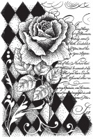 Harlequin Rose single unmounted rubber stamp