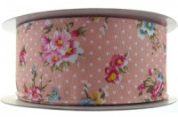 Vintage Flower Dot Wire Edge Ribbon - Pink 1M x 38mm