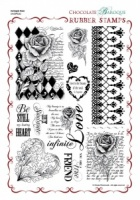 Harlequin Rose Rubber Stamp Sheet - A4