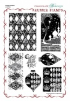 Harlequin Christmas Rubber Stamp Sheet - A4