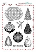 Pears and Baubles Rubber stamp sheet - A4