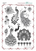 Peacock Parade Rubber Stamp Sheet - A4