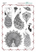 Tangled Peacock Rubber Stamp Sheet - A4