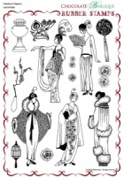Fabulous Flappers Rubber stamp sheet - A4