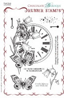 Floral Clock Rubber Stamp sheet - A5