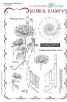 Chrysanthemum Blueprint Rubber Stamp sheet - A5