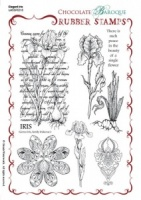 Elegant Iris Rubber stamp sheet - A5