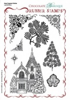 New England Winter Rubber stamp sheet - A5