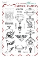 Steampunk Travel Rubber stamp sheet - A5