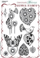 Fluttering Hearts Rubber stamp sheet - A5