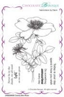 Canary Bird Rose unmounted rubber stamp set - A6