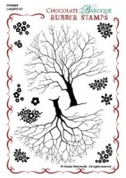 Orchard Design a Tree Rubber stamp sheet - A6