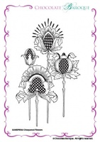 Chequered Flowers Single Rubber stamp  - A6