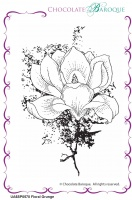 Floral Grunge individual unmounted rubber stamp  - A6
