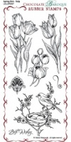 Spring Bird Tulip Rubber Stamp sheet - DL