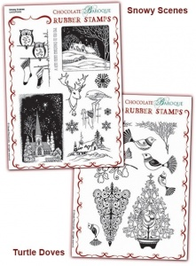 Snowy Scenes/Turtle Doves Rubber stamps Multi-buy - A5