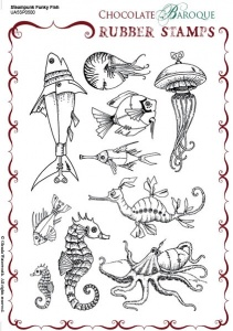Steampunk Funky Fish Rubber stamp sheet - A5