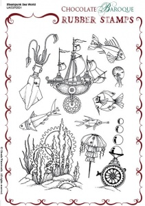 Steampunk Sea World Rubber stamp sheet - A5